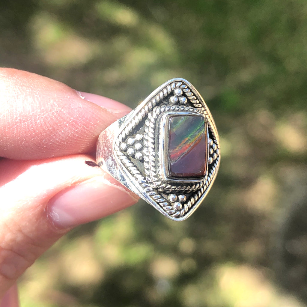 Ammolite & Ammonite Fossil Sterling Silver Ring 7.25 (O)
