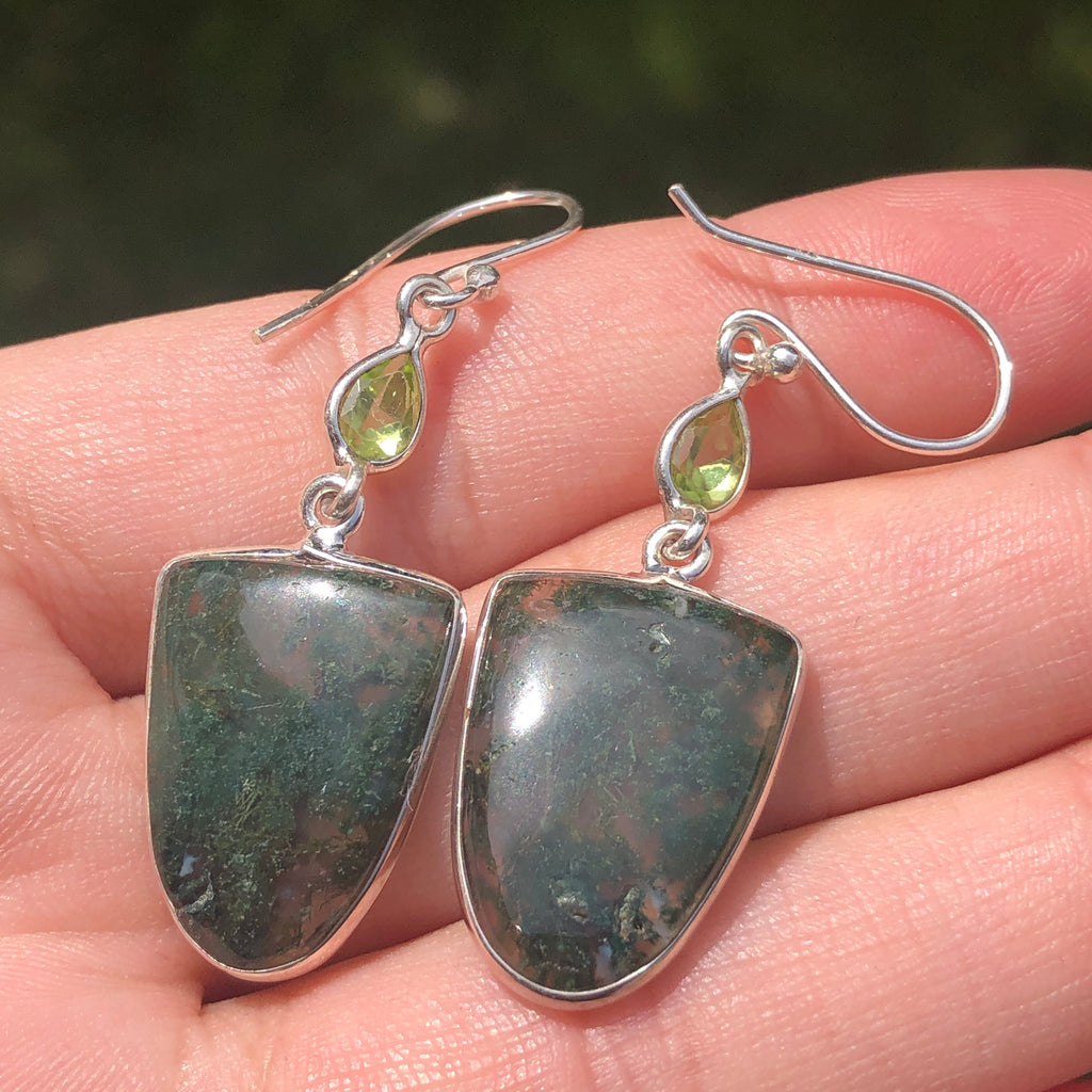 Moss Agate with Peridot Silver Earrings