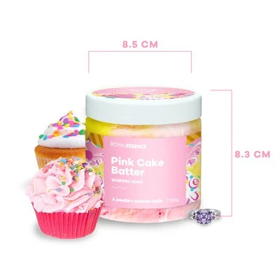 Pink Cake Batter - WHIPPED SOAP - with Jewellery Surprise - Royal Essence