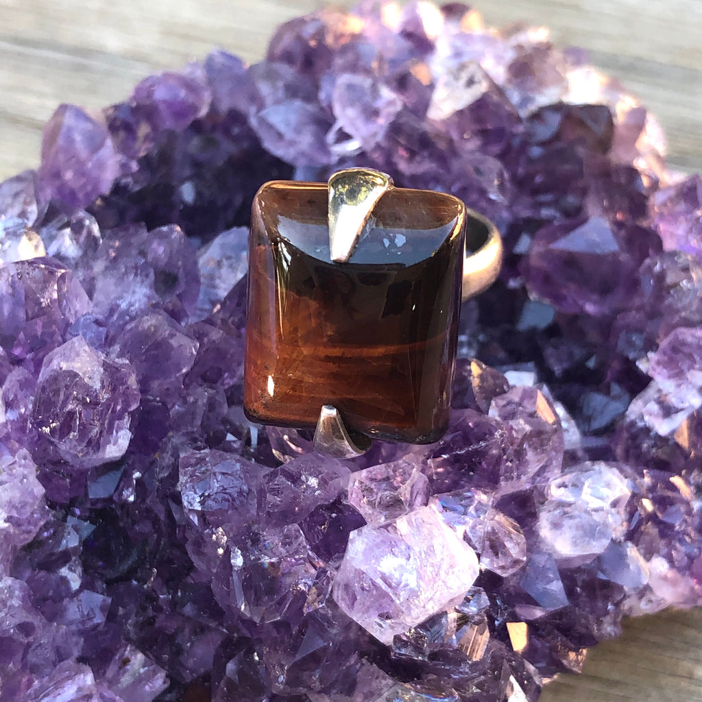 Red Tigers Eye Sterling Silver Ring 5.75 (L)