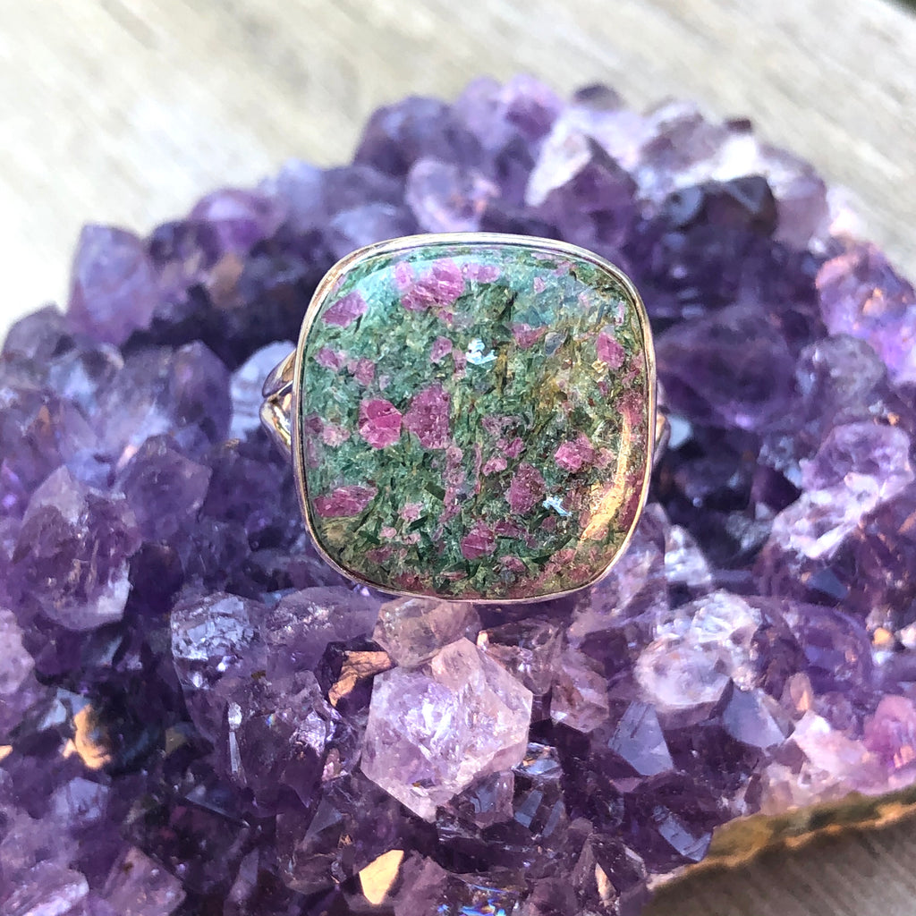 Ruby in Fuchsite Sterling Silver Ring 9.5 (T)