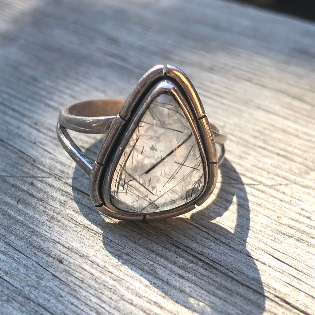 Tourmalinated Quartz Sterling Silver Ring 10.75 (V.5)