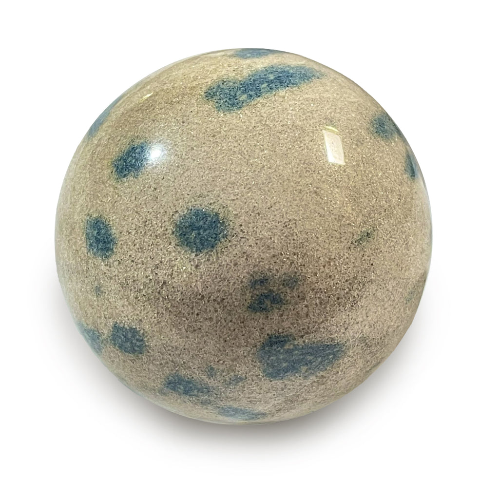 Blue Apatite in Cleavlandite Sphere