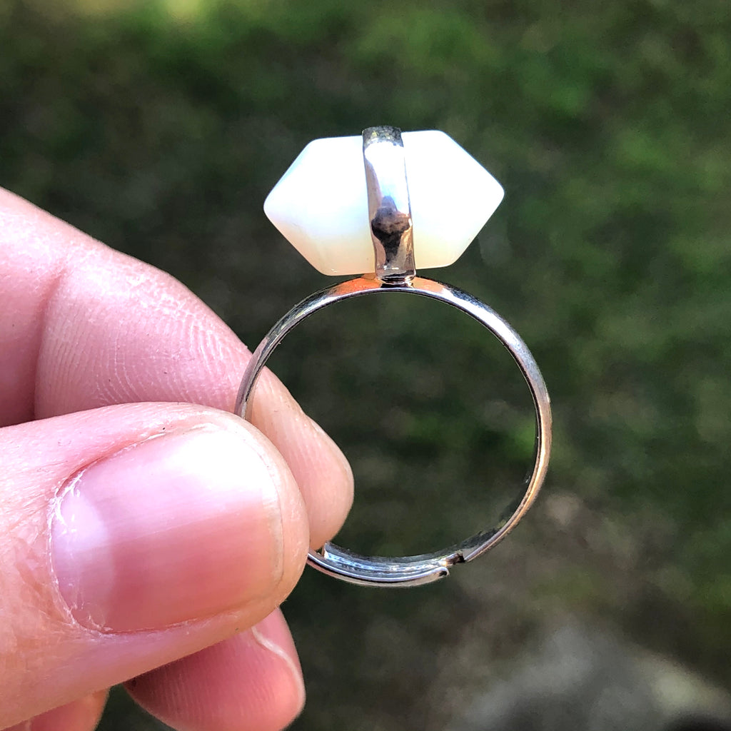 Opalite Silver Tone Ring 8.75 (R.5)