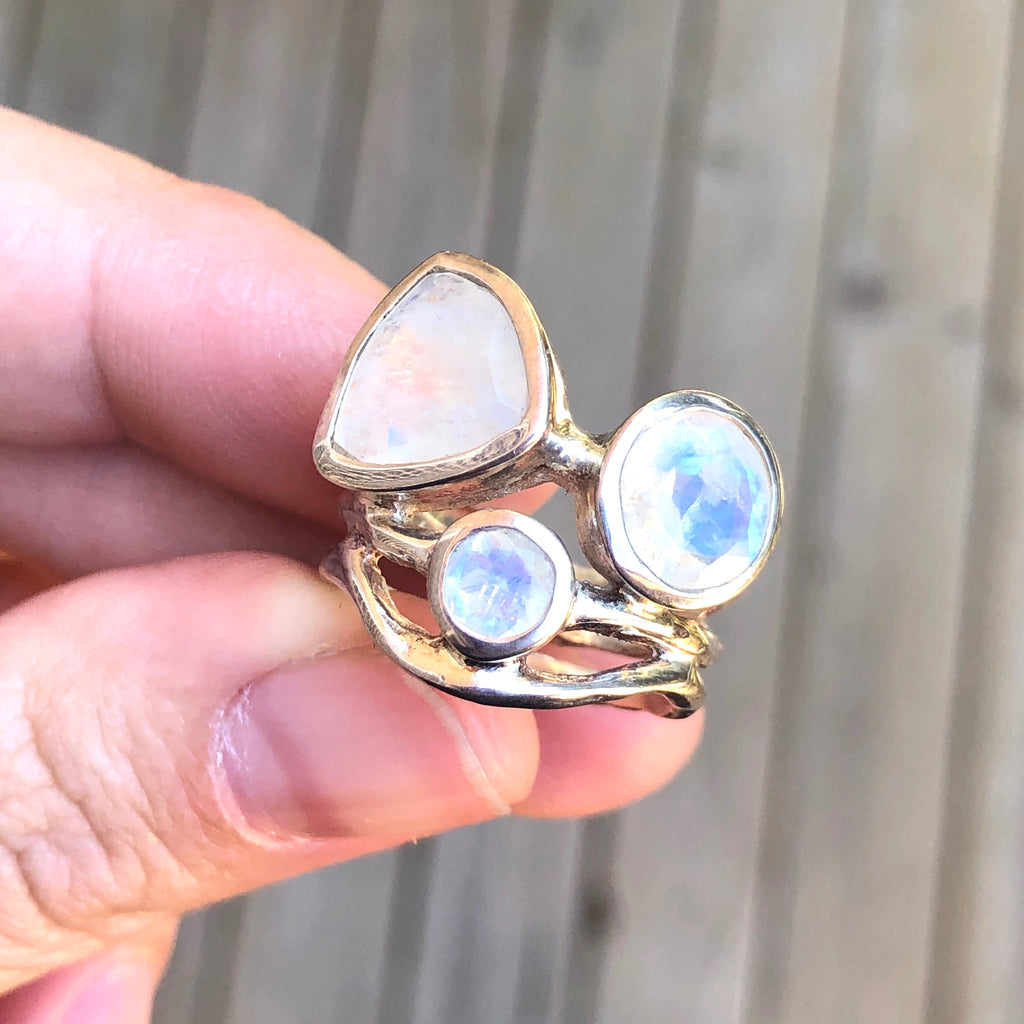 Rainbow Moonstone Sterling Silver Ring 5.5 (L)