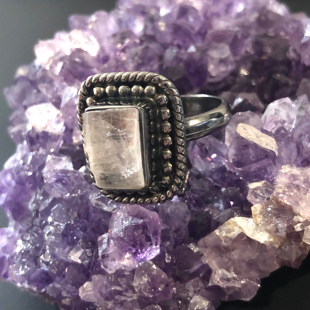 Clear Kunzite Silver Ring 8.25 (Q)