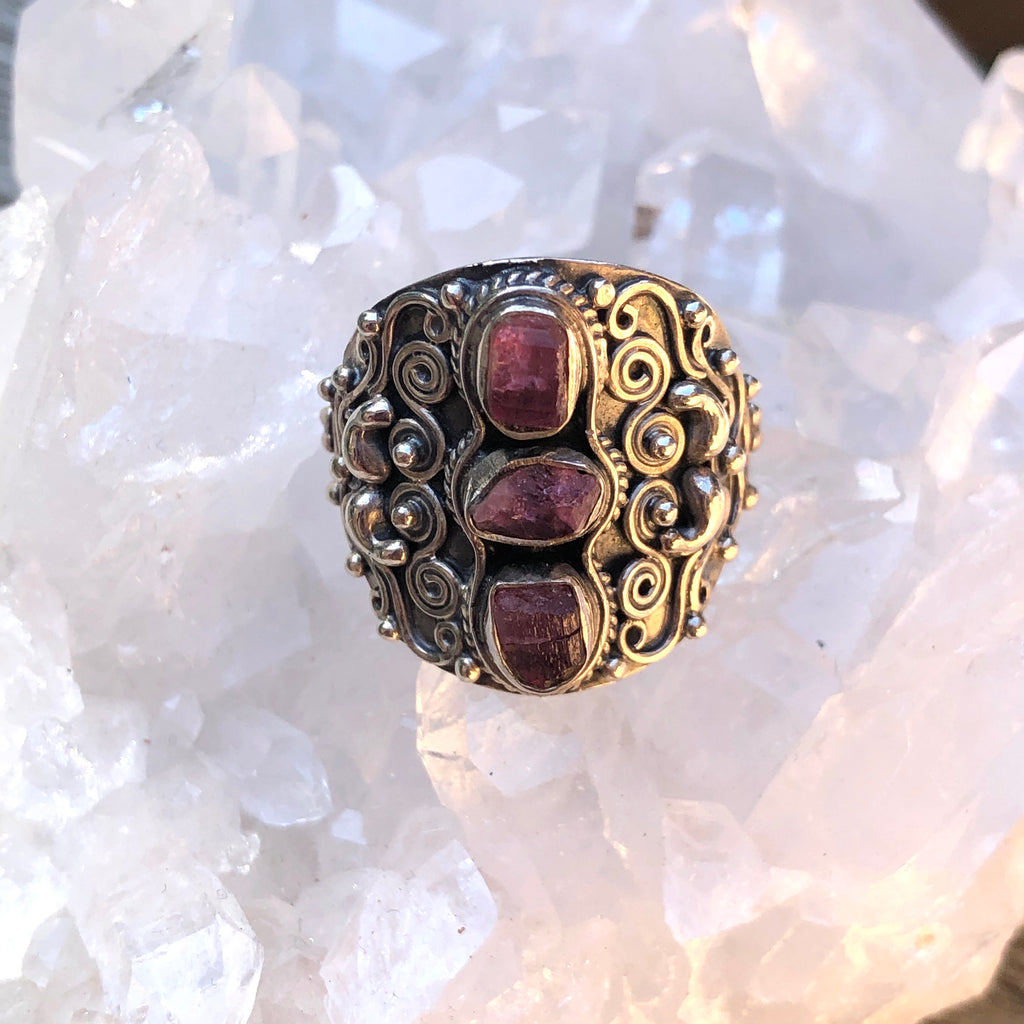 #408 Raw Ruby Sterling Silver Ring 8.75 (R.5)