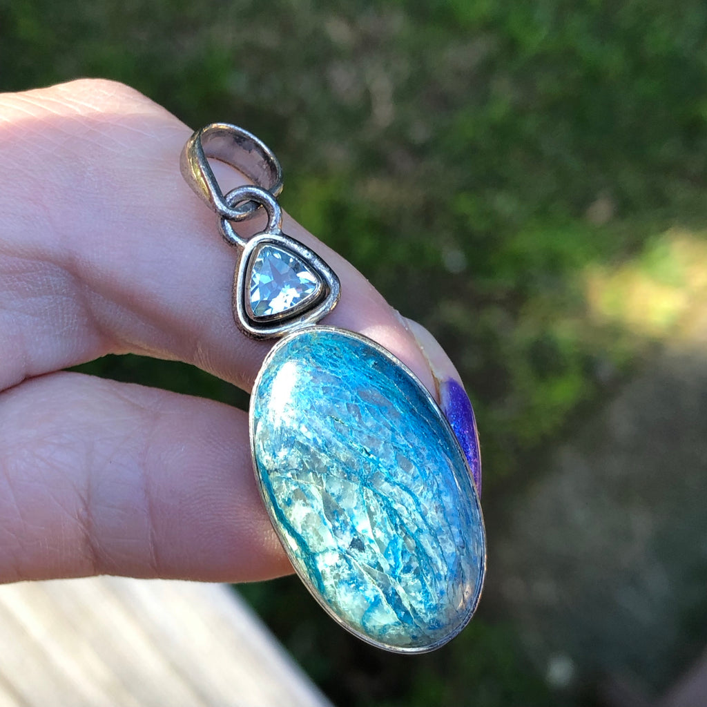 Shattuckite and Faceted Blue Topaz Pendant Sterling Silver
