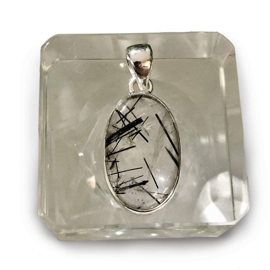 Tourmalinated Quartz Sterling Silver Pendant