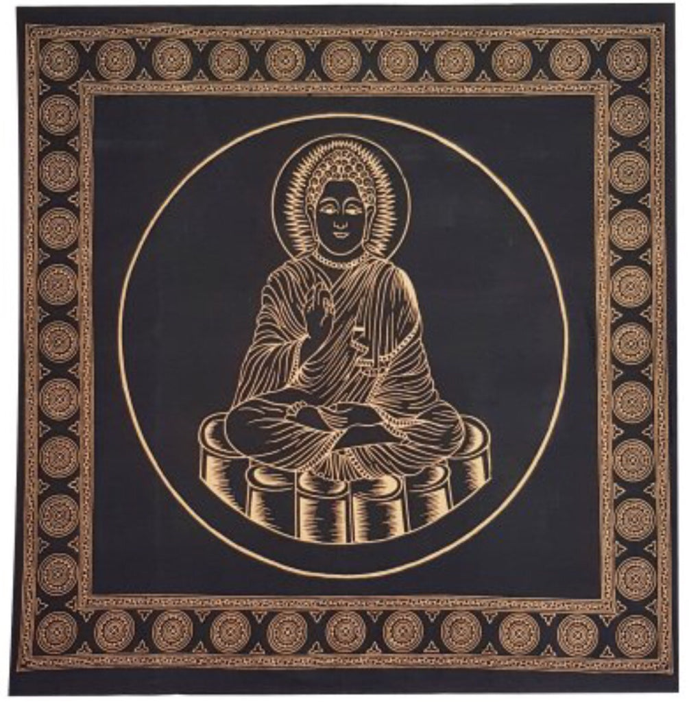 Buddha Altar Cloth Black and Gold