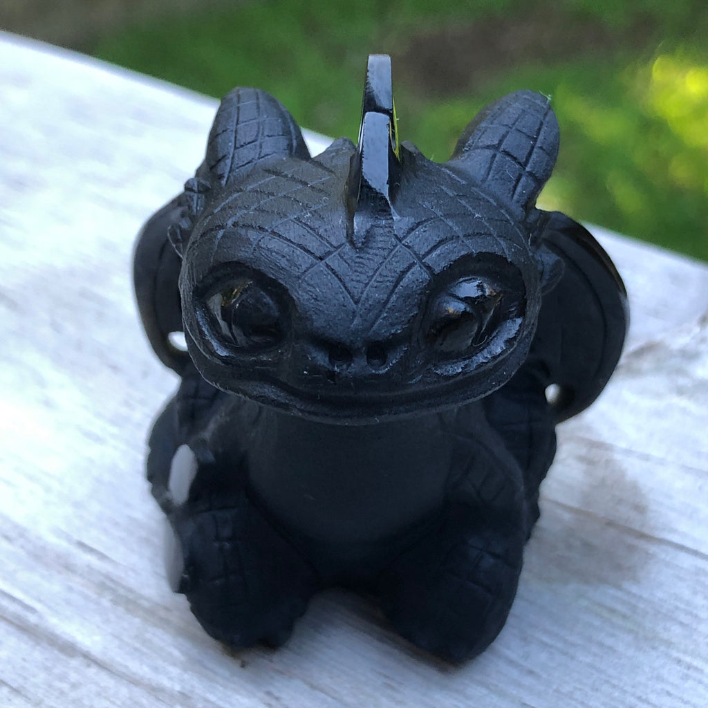 Black Obsidian Polished Dragon