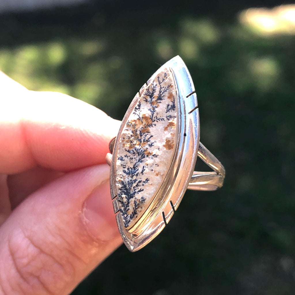 Dendritic Agate Sterling Silver Ring 8.75 (R.5)