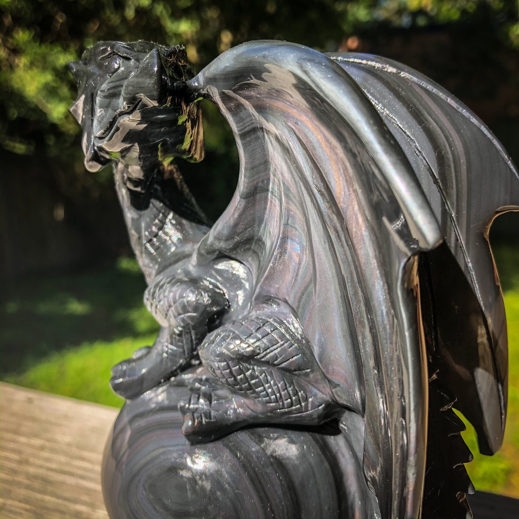 #3 Rainbow Obsidian Dragon on Sphere Hand Carved Crystaluxe