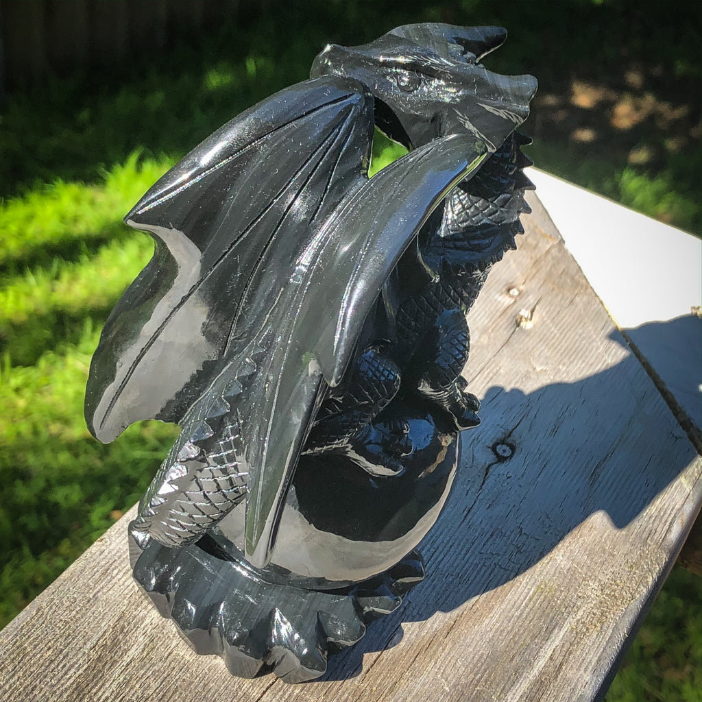 Rainbow Obsidian Dragon on Sphere Hand Carved Crystaluxe