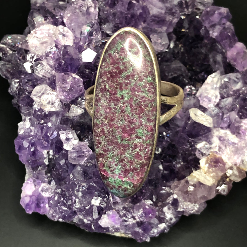 Ruby in Fuchsite & Kyanite Sterling Silver Ring 9 (S)