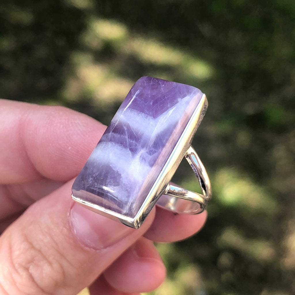Chevron Amethyst Sterling Silver Ring 7 (N.5)