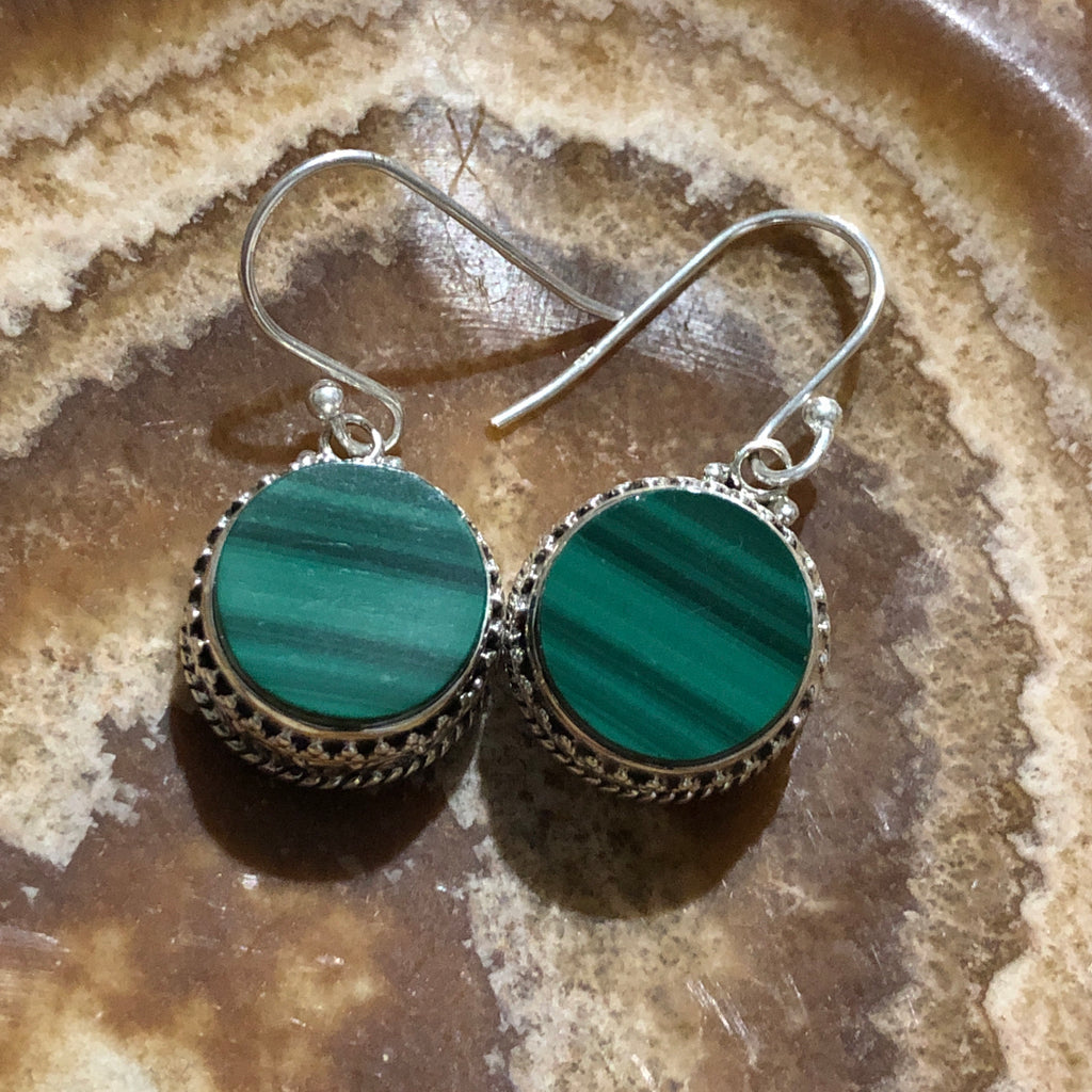 Malachite with Ornate Sterling Sliver Earrings