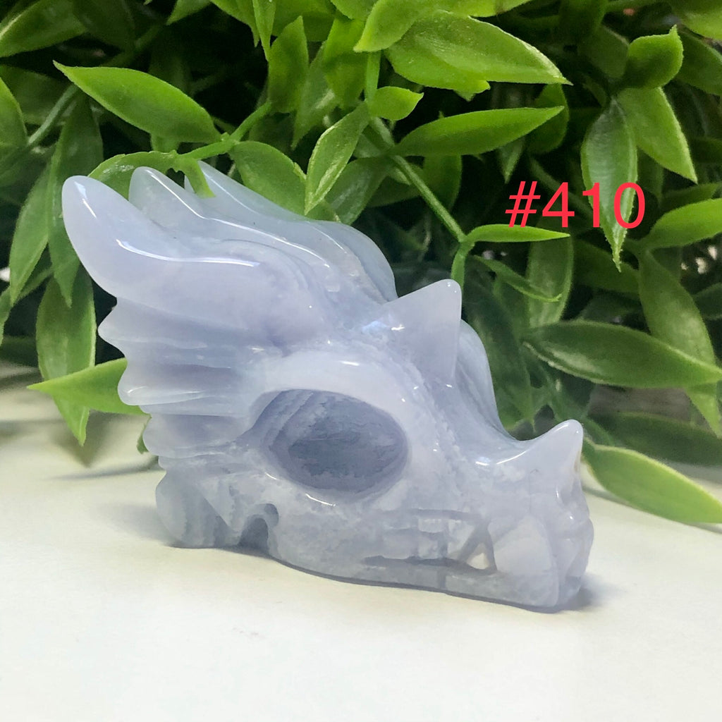 Blue Lace Agate Dragon Skulls