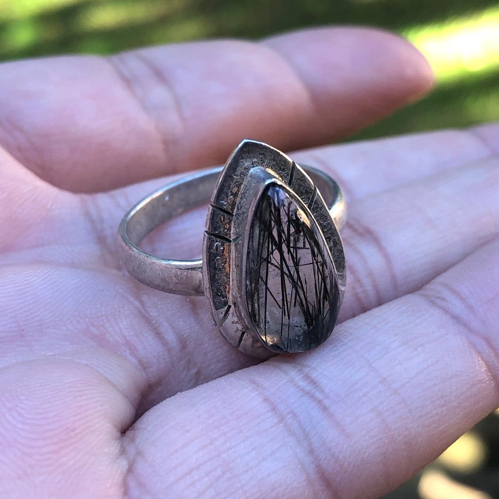 Tourmalinated Quartz Sterling Silver Ring 8.75 (R)