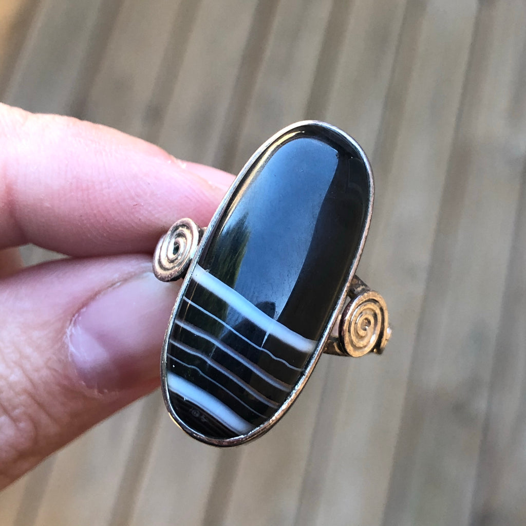 Black Botswana Agate Sterling Silver Ring 9.5 (T)