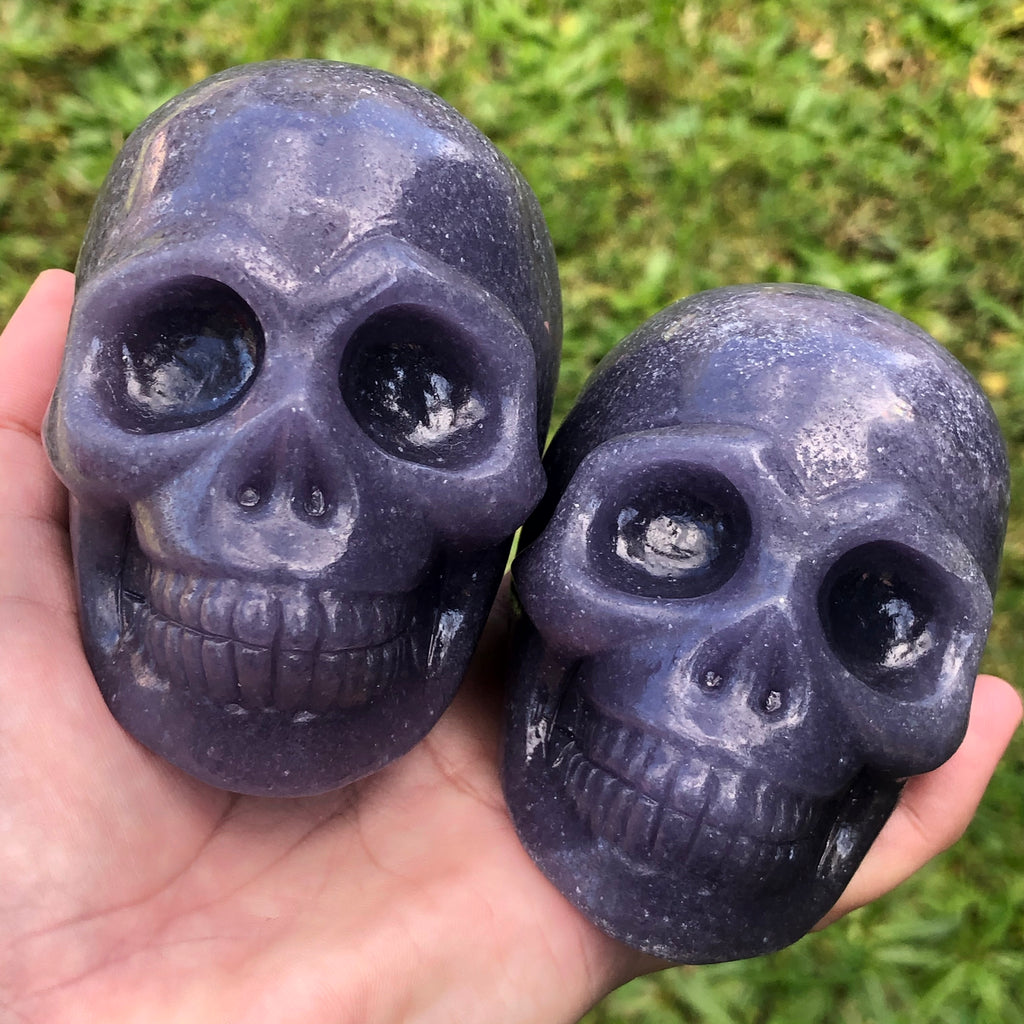 South African Lepidolite Carved Skulls