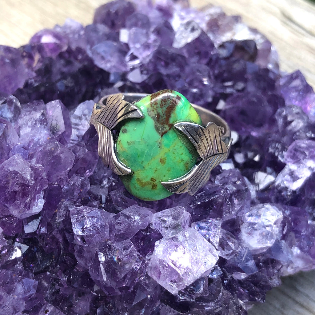 Green Mojave Turquoise Sterling Silver Ring 8.75 (R.5)