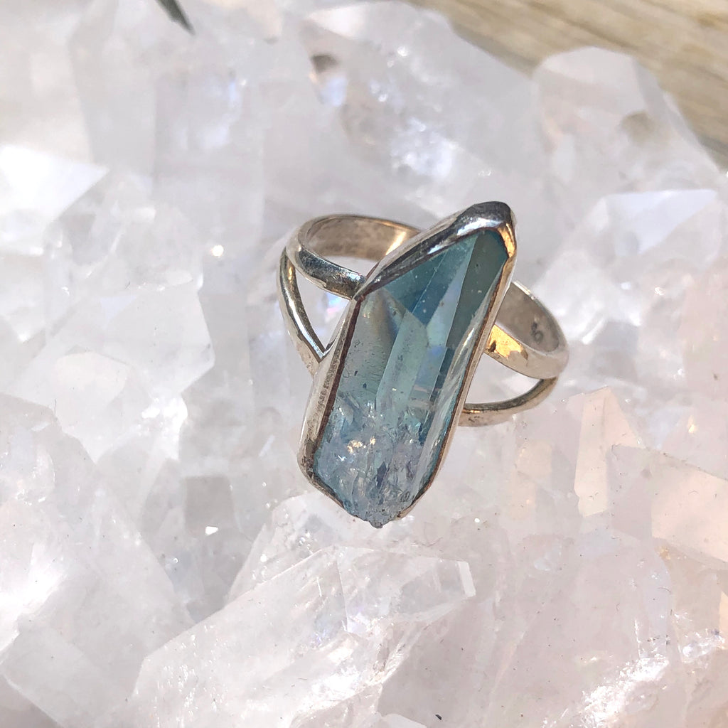 Aqua Aura Sterling Silver Ring 8.75 (R.5)