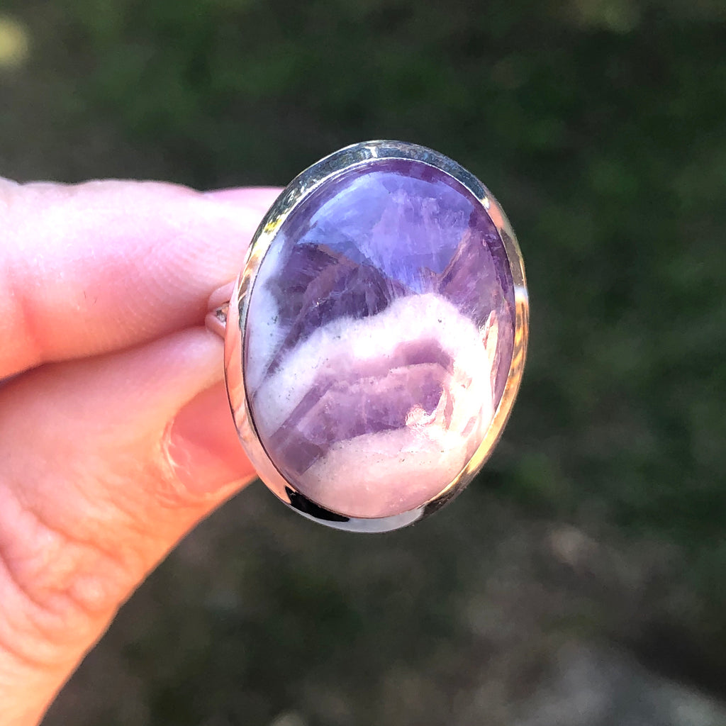 Chevron Amethyst Sterling Silver Ring 9.25 (S.5)