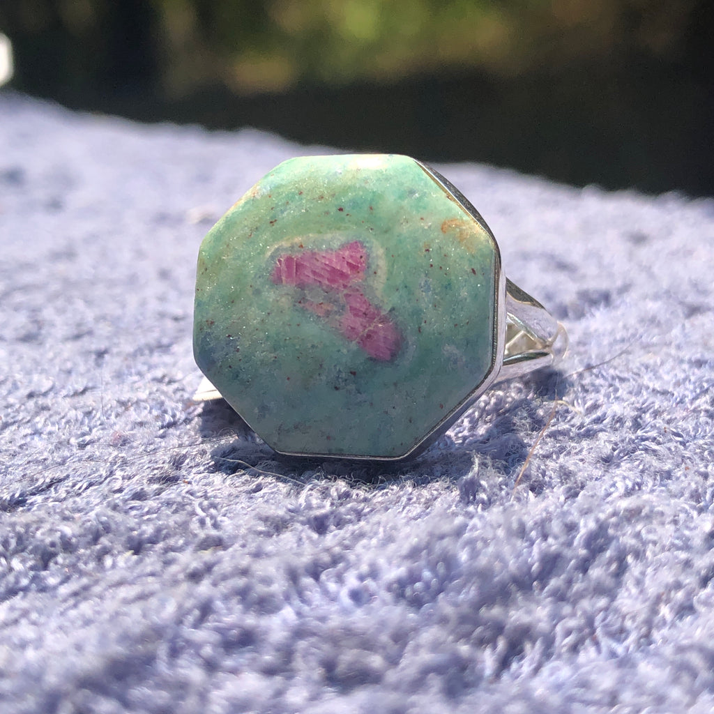 Ruby in Fuchsite Sterling Silver Ring 10.75 (V.5)