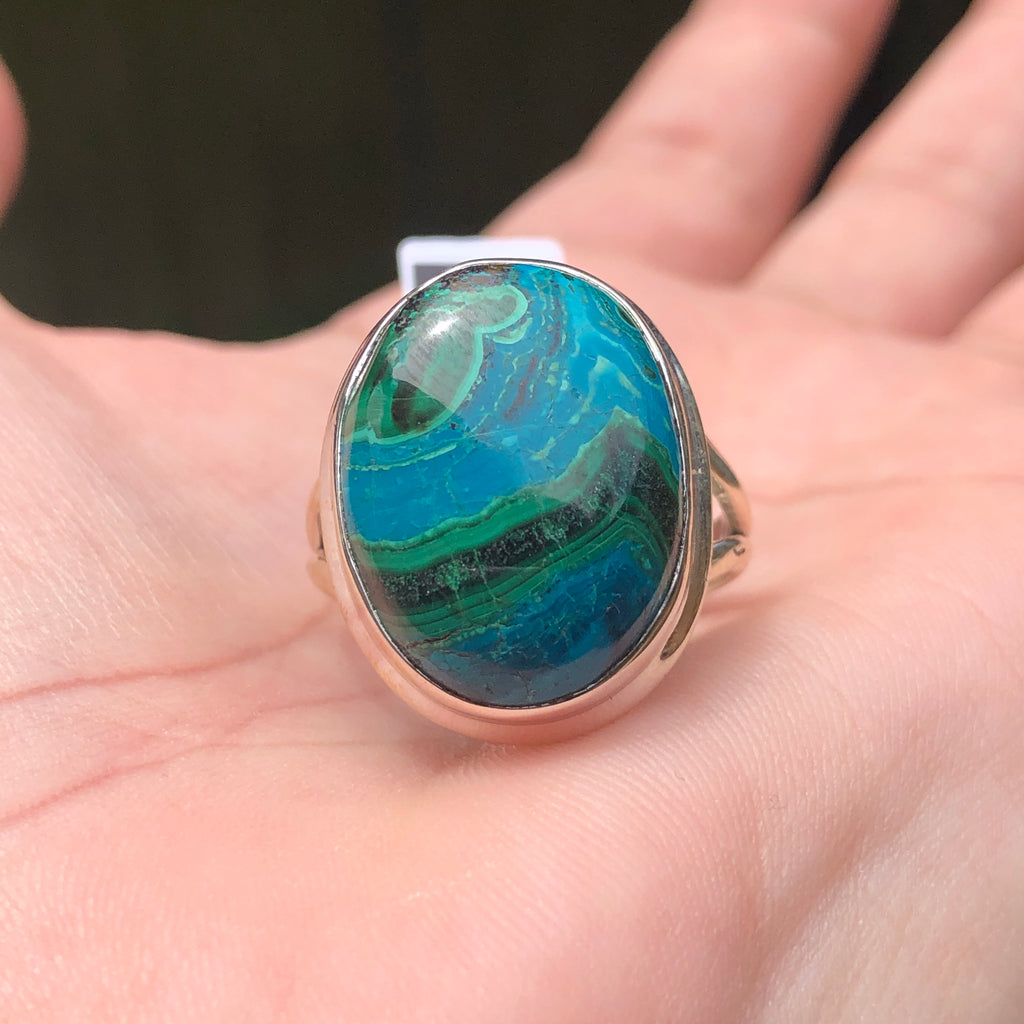 #134 Malachite & Chrysocolla Sterling Silver Ring 9.25 (S.5)