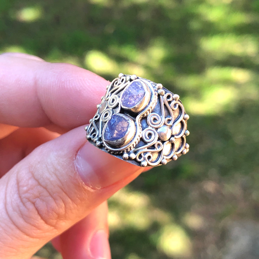 Tanzanite Raw Sterling Silver Ring 7.5 (O.5)