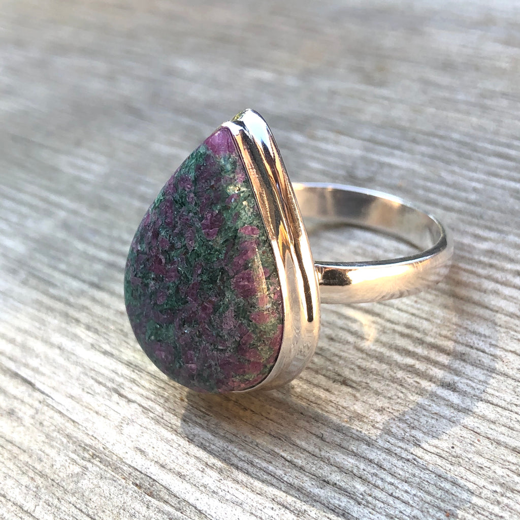 Ruby in Fuchsite Sterling Silver Ring 9.75 (T.5)