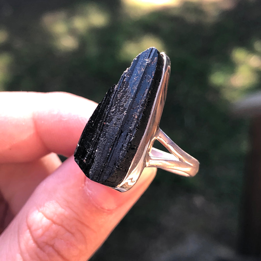 Black Tourmaline Raw Sterling Silver Ring 8.5 (R)