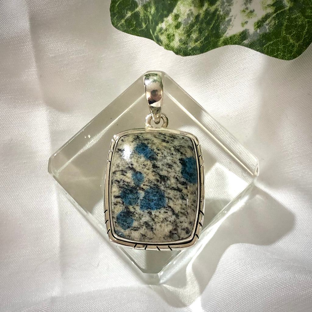 Azurite in Granite K2 Sterling Silver Pendant