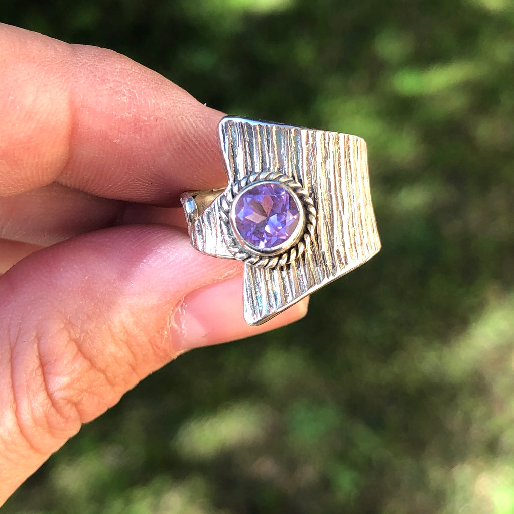 Faceted Amethyst Sterling Silver Ring 5.75 (L)