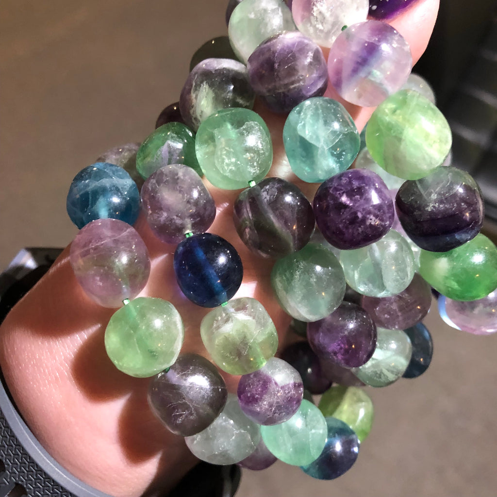 Fluorite Nugget Stretch Bracelet
