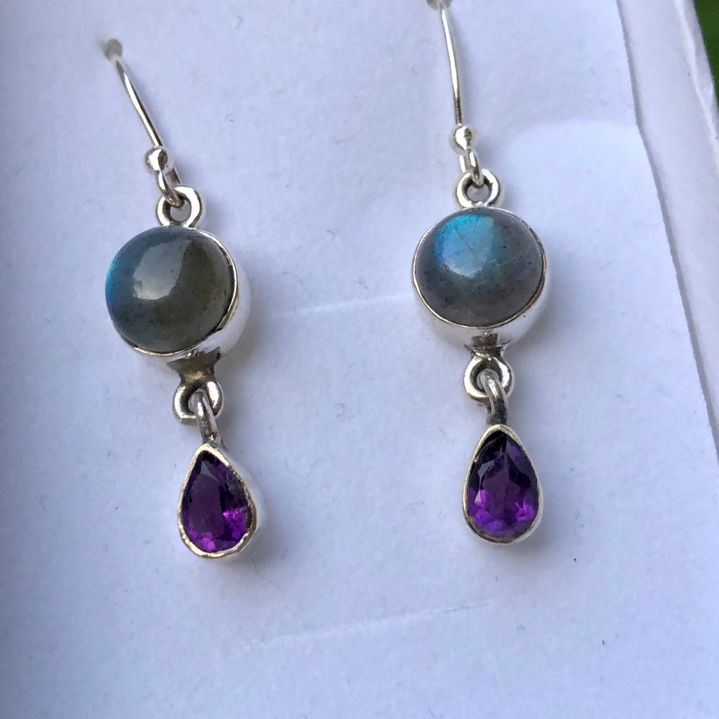 Labradorite & Faceted Amethyst Sterling Earrings