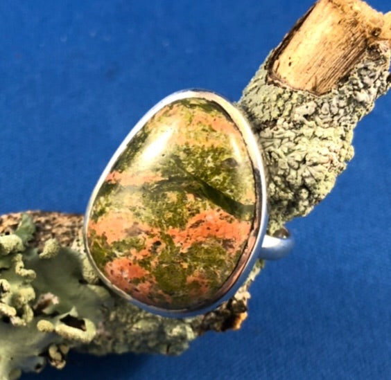 Unakite Ring Sterling Silver 8.5 (R)
