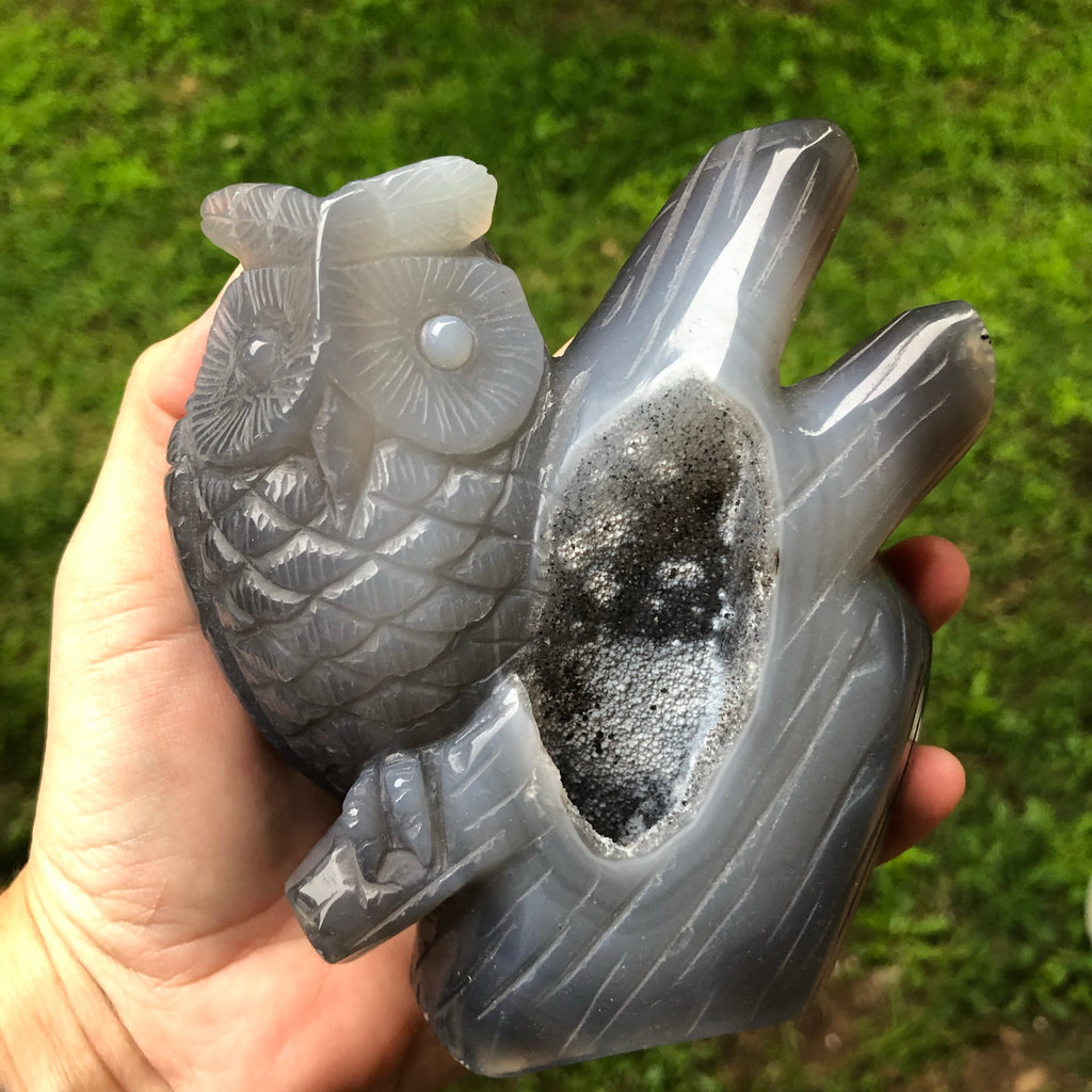 Druzy Agate Carved Owl