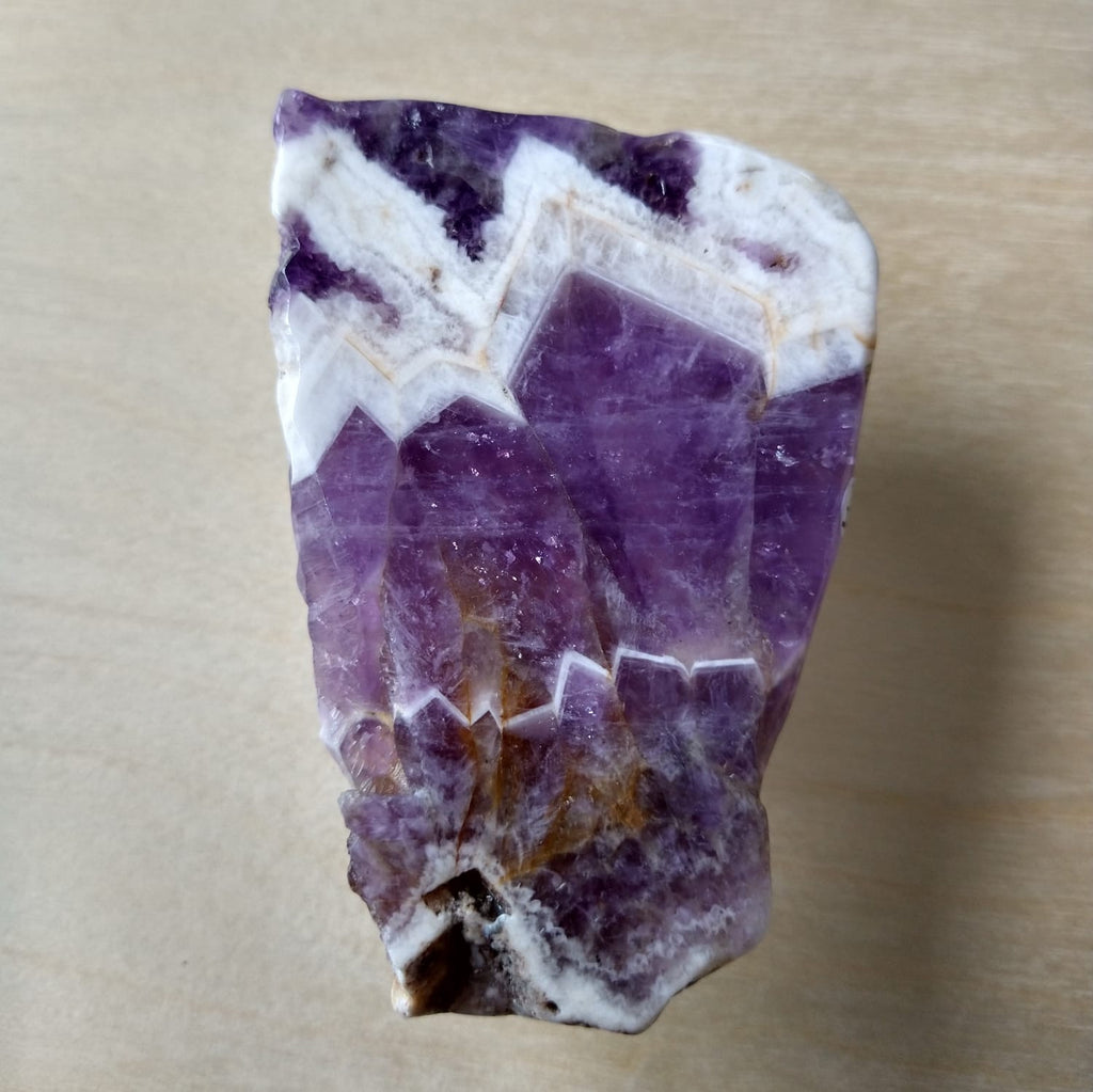 Chevron Amethyst Slab - Polished with Raw Edges