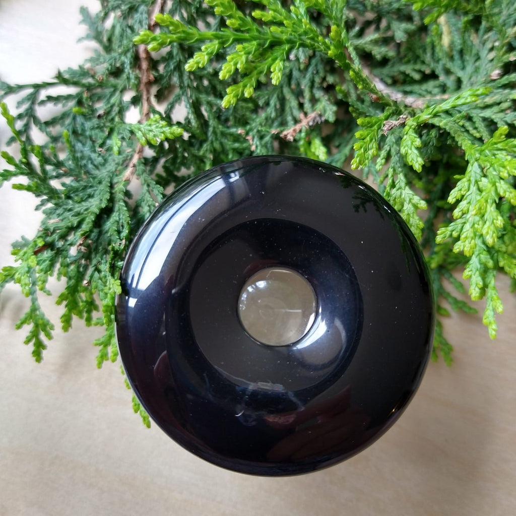 Black Onyx Donut - Pendant or Sphere Stand