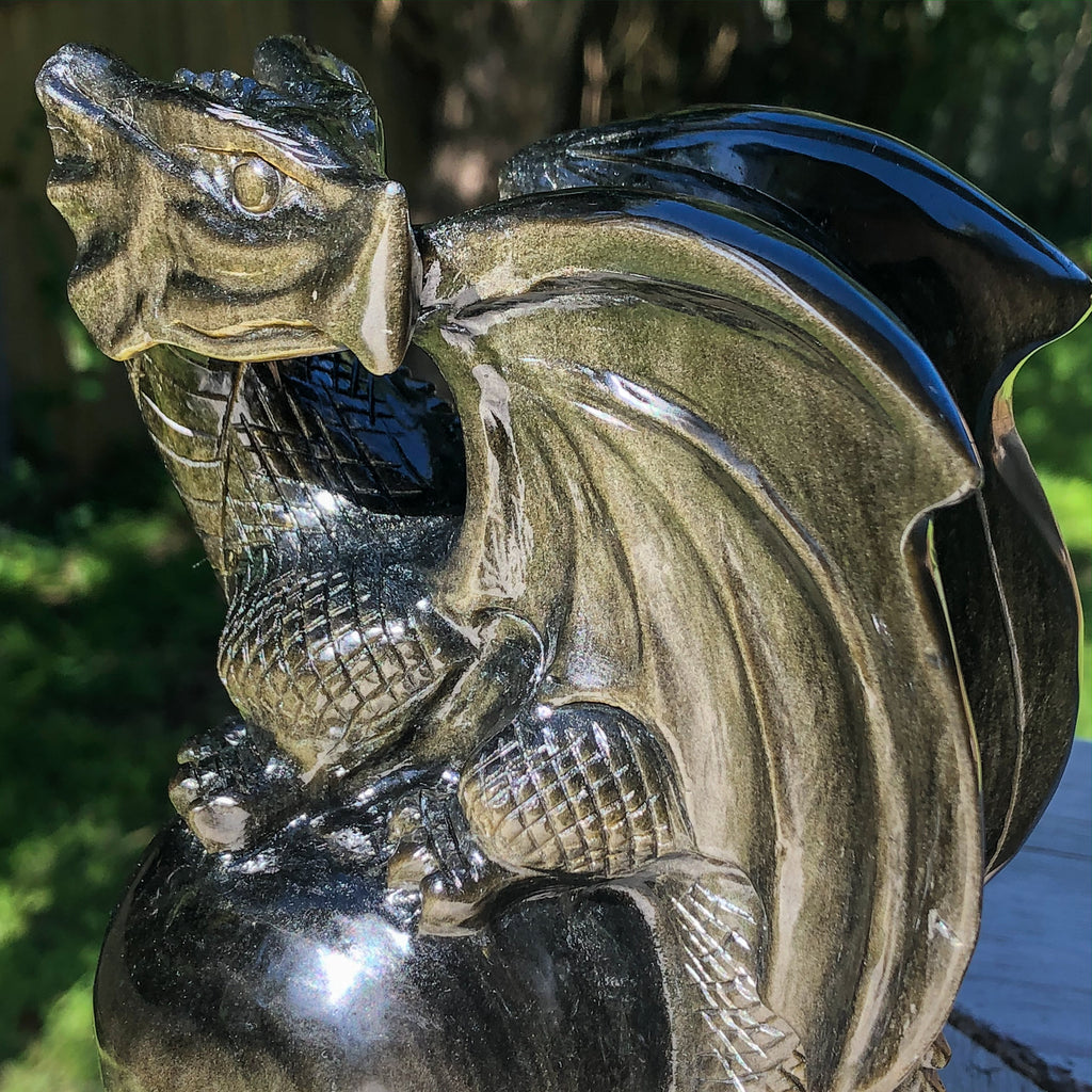 Golden Sheen Obsidian Dragon on Sphere Hand Carved Crystaluxe