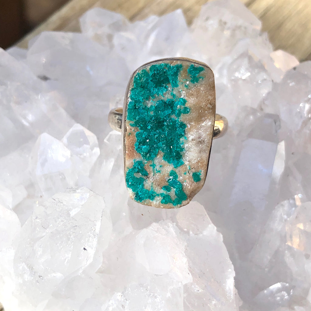 Druzy Dioptase Sterling Silver Ring 9.25 (T)