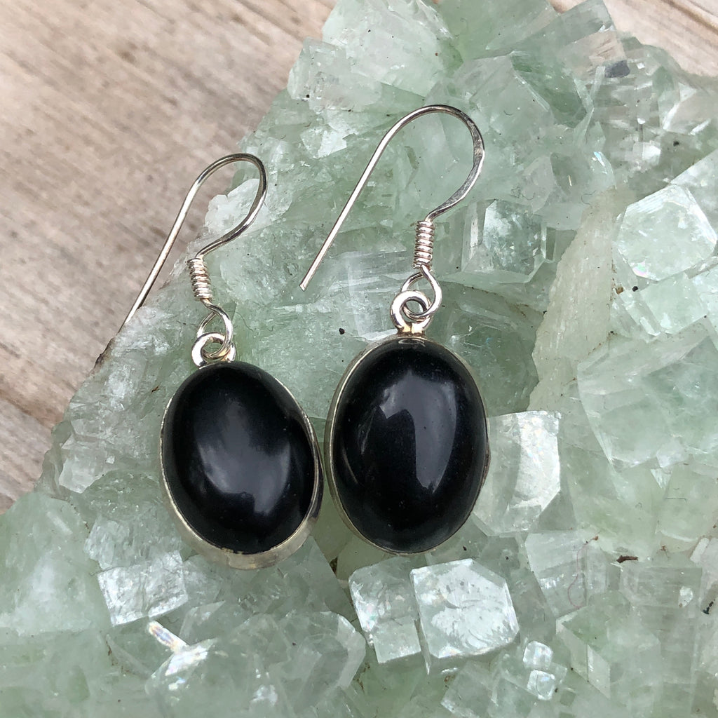 #077 Black Onyx Sterling Silver Earrings