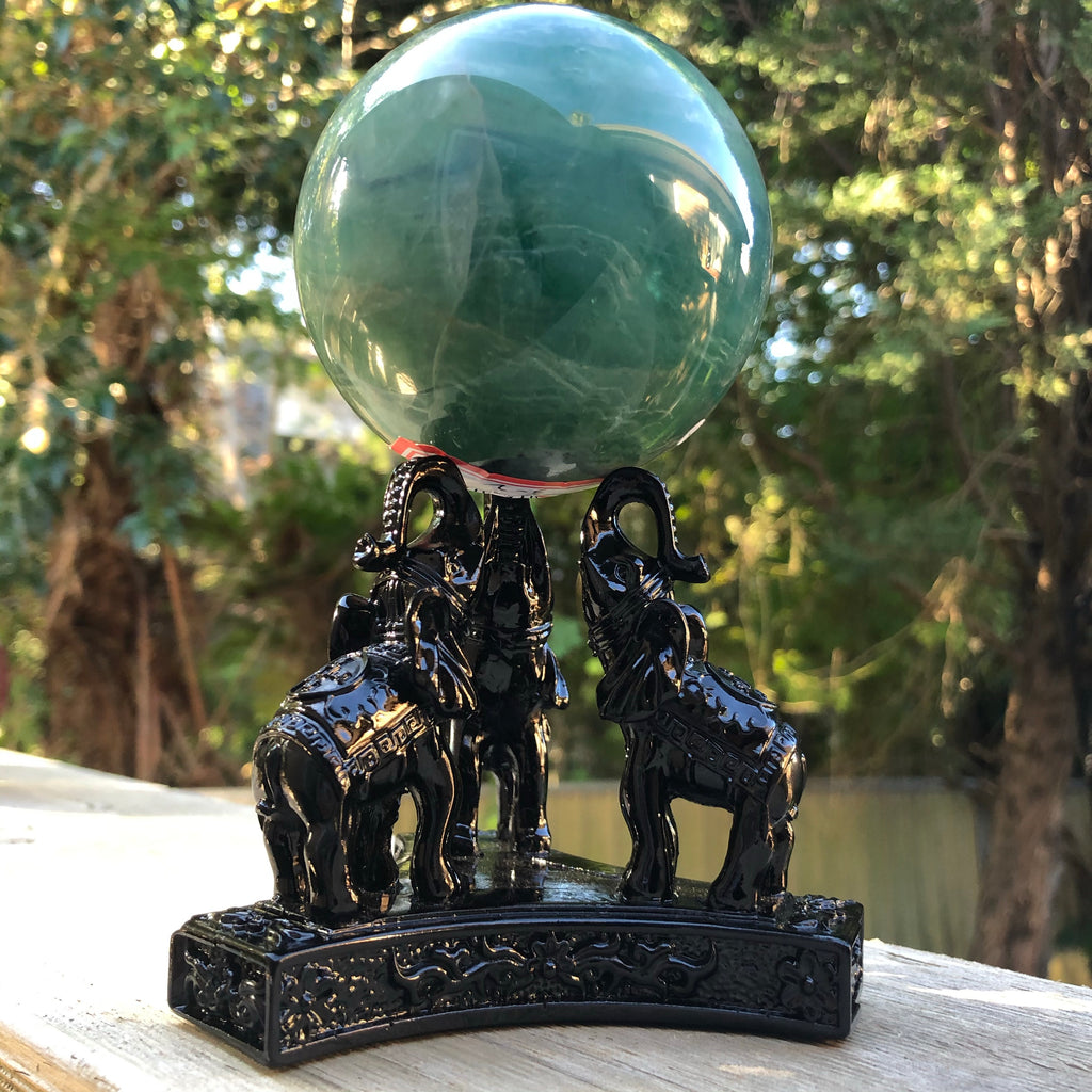Triple Elephant Resin Sphere Stands