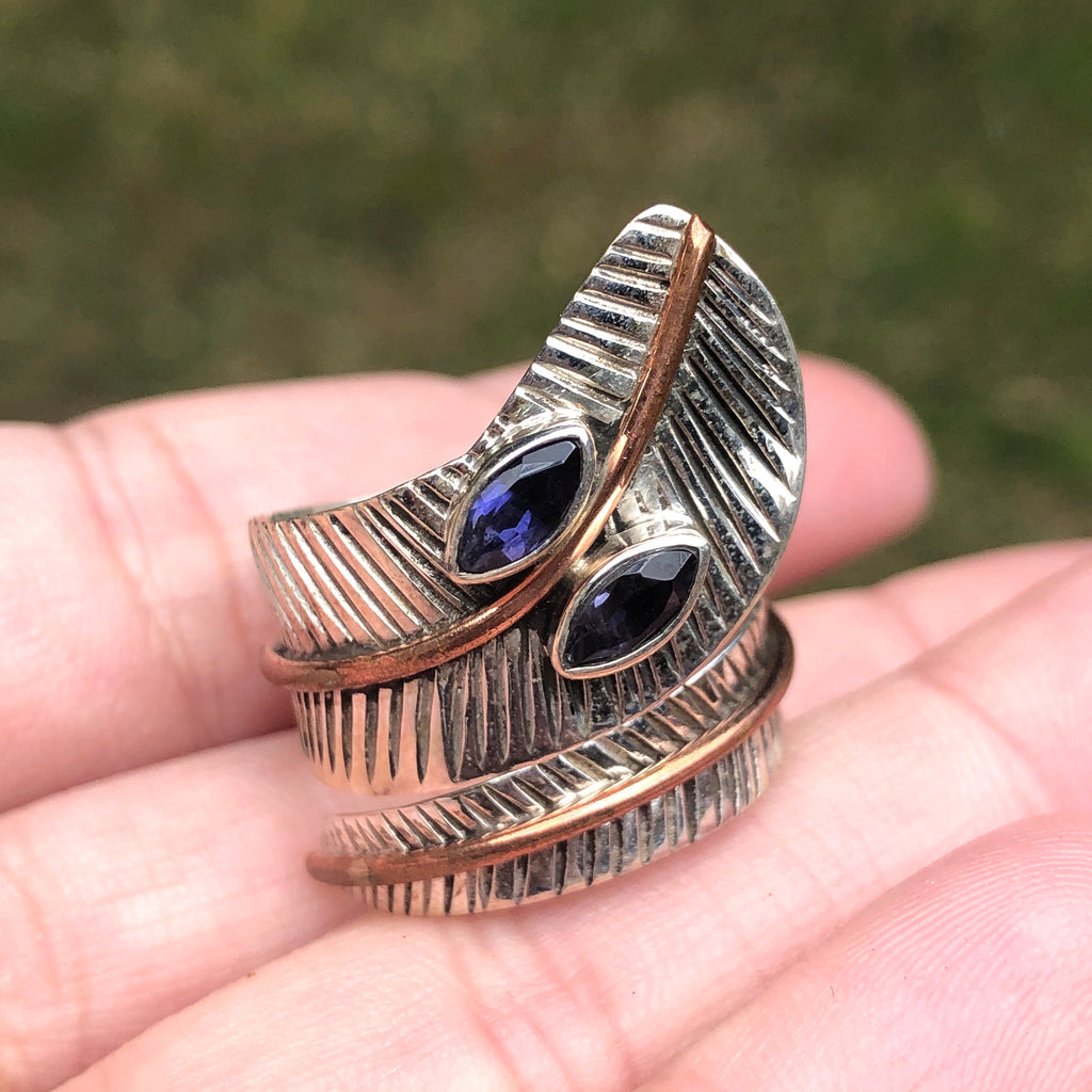 Iolite with Copper Sterling Silver Ring 8 (Q)
