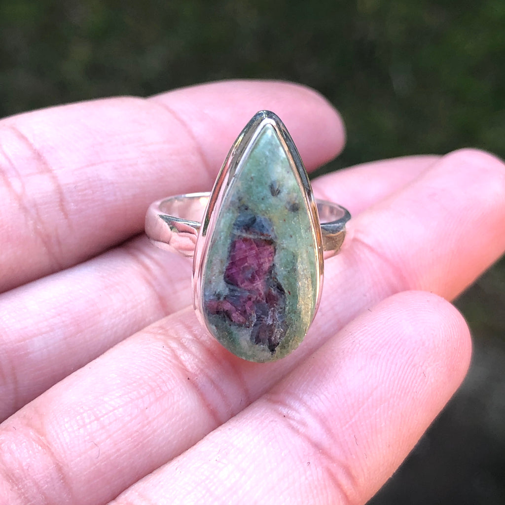 Ruby in Fuchsite & Kyanite Sterling Silver Ring 8 (P.5)