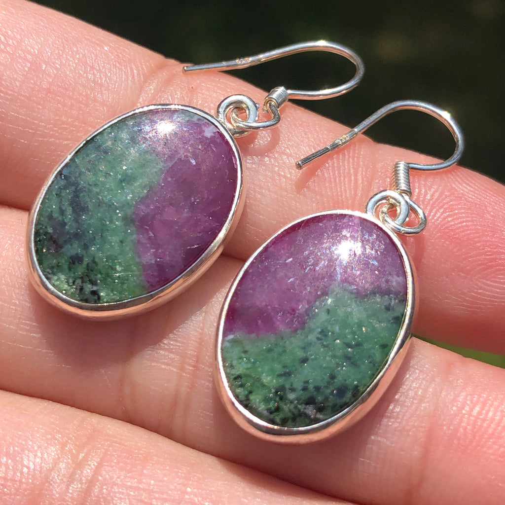 Ruby in Zoisite Sterling Silver Earrings