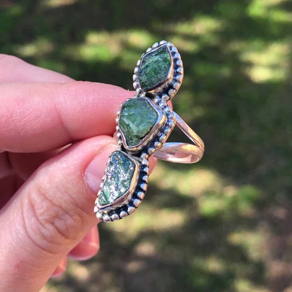 #218 Chrome Dioptase Sterling Silver Ring 7.5 (O.5)
