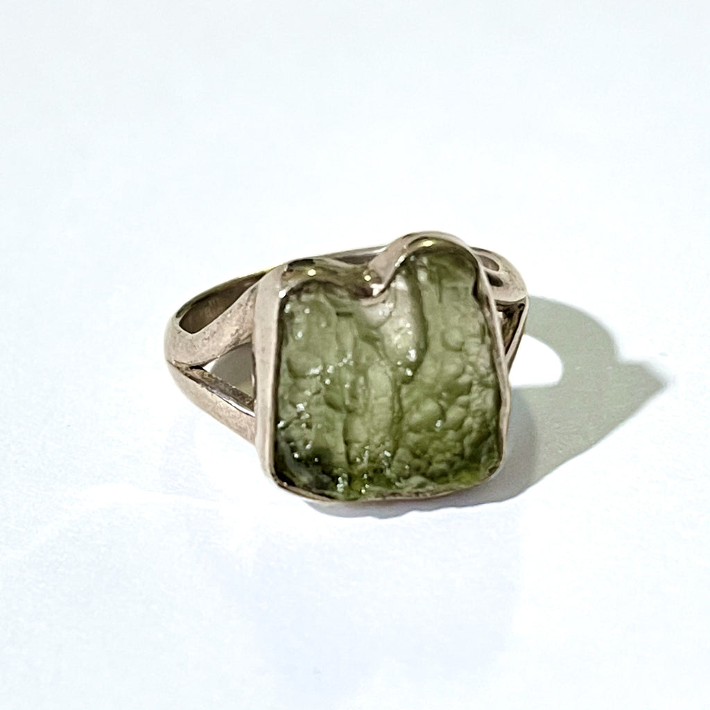 Moldavite Sterling Silver Ring 6.5 (M.5)